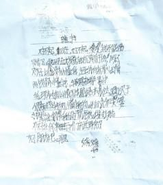 媛媛书写的第一封遗书。