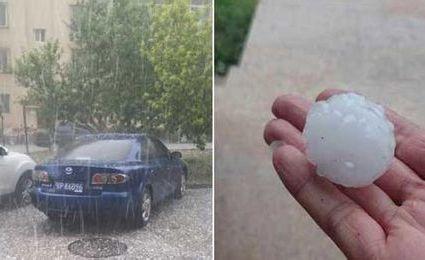 北京突遭暴雨袭击 冰雹大如乒乓球