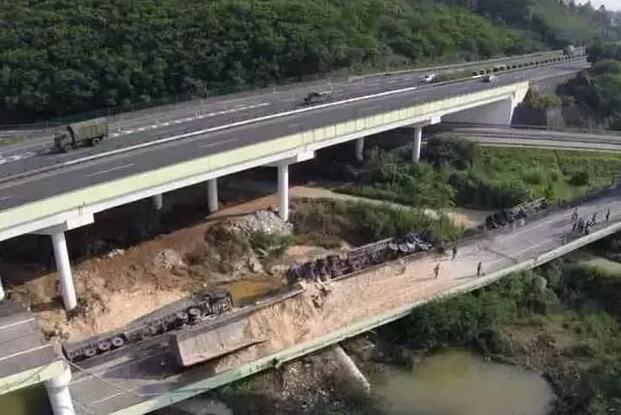 粤赣高速匝道突然断裂致多车坠落1死多伤