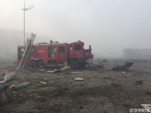 天津爆炸消防车被炸毁 6名消防员遇难